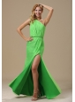 High Slit Spring Green One Shoulder and Ruched Bodice For Prom Dress