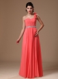 One Shoulder Watermelon Beaded Decorate Waist Chiffon Hand Made Flowers Prom Gowns For Custom Made In 2013