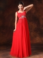 Red Empire Beaded Chiffon Straps Prom Dress For 2013 Custom Made In Selma Alabama