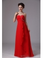 Red Sweetheart Beaded Ruch Chiffon Prom Dress For Prom Party In Lawrenceville Georgia