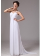 Simple One Shoulder Watteau Train Chiffon Prom Dress For Custom Made In Decatur Georgia