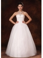 2013 New Arrival Strapless Appliques And Beading Church Wedding Dress For Custom Made
