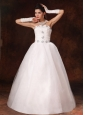 2013 New Styles Beaded Strapless A-line Floor-length Customize Wedding Dress