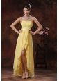 2013 Nogales Arizona New Style Yellow High-low Prom Dress With Belt Decorate