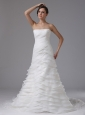 A-line Wedding Dress Ruffled Layers and Ruched Bodice Custom Made