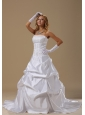 A-line Wedding Dress With Lace Bodice Pick-ups Strapless