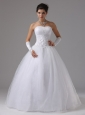 A-line Wedding Dress With Lace Decorate Waist and Beraded Decorate Bust In Angels Camp California