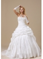 Ball Gown Wedding Dress With Appliques Decorate Bust and Ruched Pick-ups