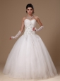 Beaded And Appliques Decorate Waist Sweetheart Tulle Church Custom Made Wedding Dress