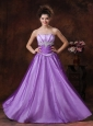 Beaded Decorate Strapless Tulle Strapless Lavender Prom Dress