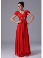 Beading V-neck Empire Chiffon Short Sleeves Red Chiffon Prom Dress