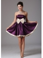 Beautiful Dark Purple Strapless Short Prom Dress With Sash Mini-length In Florida