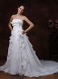 Bowknot Strapless Organza Court Train Ruffles Wedding Dress Court Train