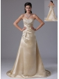 Branford Connecticut City Champagne A-line Appliques Decorate Stylish Prom Dress With Saitn