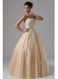 Champagne and Appliques For 2013 Ball Gown Prom Dress Floor-length In Cambria California
