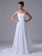 Chiffon Beaded Decorate Waist Empire Fashionable Sweetheart Court Train Beach Wedding Dress In Atlantic Iowa