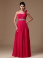 Coral Red Empire One Shoulder Hand Made Flowers Beaded Decorate Waist Formal Evening Prom Dress For Custom Made