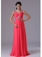 Coral Red V-neck Beading and Ruch Plus Size Prom Dress With Floor-length In Norwalk Connecticut