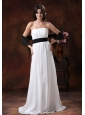 Custom Made White Chiffon Brush Train Low Cost Wedding Dress With Black Belt Decorate In Safford Arizona