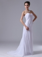 Customize Empire Beach / Destination Chiffon Sweetheart Low Cost Wedding Dress Zipper-up
