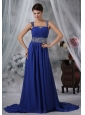 Des Moines Iowa Beaded Decorate Straps and Waist Brush Train Royal Blue Chiffon Prom / Evening Dress For 2013