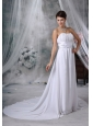 Fairfield Iowa Ruched Decorate Bust Court Train Strapless Chiffon For 2013 Low Cost Wedding Dress
