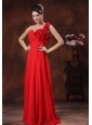 Flowers Decorate Shoulder Red Prom Dress In Bessemer Alabama