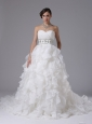 Gorgeous Wedding Dress Ruched Bodice Beaded Decorate Waist and Ruffled Layers In Arnold California