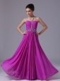 Halter Beading Fuchsia Chiffon 2013 Prom Dress Floor-length