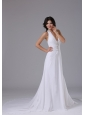 Halter Wedding Dress With Ruched Bodice Beading In Brentwood California Chapel Train