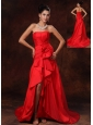 High Slit Column Strapless Celebrity  Brush / Sweep Train Ruched 2013 Prom Dress