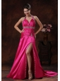 High Slit Hot Pink Prom Dress With Halter Beaded Decorate In Orange Beach Alabama