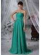 Iowa Falls Iowa Ruched Decorate Bodice Brush Train Turquoise Blue Chiffon Strapless Plus Size Prom / Evening Dress For 2013