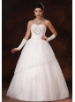 Lace A-line Sweetheart Beaded Organza Floor-length Wedding Dress For Custom Made In 2013
