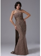 Lace Mermaid Strapless and Watteau Train For Modest Prom Dress