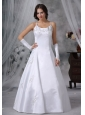 Mason City Iowa  Embroidery Decorate Bodice Straps Floor-length Ball Gown Satin Modest Style Wedding Dress For 2013