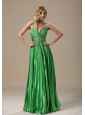 Minnesota Beaded Decorate Waist Pleat Decorate Bodice Spring Green Spaghetti Straps Floor-length 2013 Prom / Evening Dress