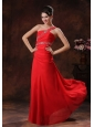 One Shoulder Coral Red Chiffon Prom Dress With Beaded Decorate In Greer Arizona