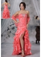 Ottumwa Iowa Beaded Decorate Bust Ruched Decorate Up Bodice Ruffles Watermelon Red High Slit Brush Train For 2013 Prom / Evening Dress
