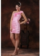 Parker Arizona Rose Pink Flowers Decorate Short Prom Dress