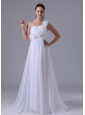 Romantic Hand Made Flowers and Ruch Wedding Dress With One Shoulder 2013