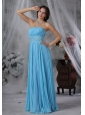Sioux Center Iowa  Beaded Decorate Waist Aqua Blue Organza Floor-length Lovely Style For 2013 Prom / Evening Dress