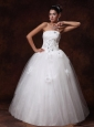Strapless Beaded Floor-length A-Line Tulle Wedding Dress For 2013 Custom Made
