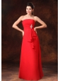 Strapless Red Empire Chiffon 2013 Prom Gowns With Beading Floor-length For Customize