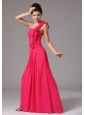 Stylish Coral Red One Shoulder Ruched Decorate Bust Prom Dress With Floor-length In New Milford Connecticut