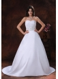 Sweetheart Neckline Satin Low Cost Wedding Dress With Beaded Decorate Waist In Show Low Arizona
