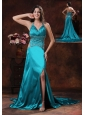 Turquoise High Slit Halter Brush Train Prom Dress With Beaded Decorate In Williams Arizona