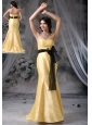 Urbandale Iowa Bowknot and Sash Decorate Waist Mermaid Yellow Sweetheart Brush Train Taffeta Prom / Evening Dress For Popular Style