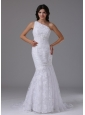 Wedding Dress with Mermaid Lace Over Skirt Brush Beautiful In Agoura Hills California