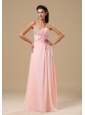 West Plains Beading and Hand Made Flowers Decorate Up Bodice Light Pink Chiffon Prom Dress For 2013